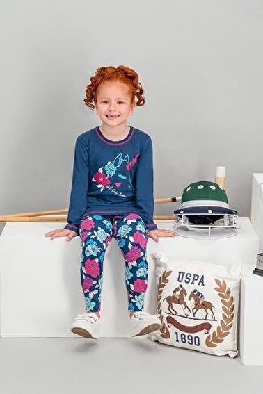 U.S. Polo Assn. U.S. Polo Assn Lisanslı Şeker Pembe Kız Çocuk Pijama Takımı Lacivert
